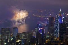 Fuochi d'artificio di Hong Kong durante l'nuovo anno cinese Immagini Stock Libere da Diritti
