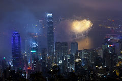 Fuochi d'artificio di Hong Kong durante l'nuovo anno cinese Fotografie Stock