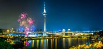 Fuochi d'artificio di Macao Fotografie Stock