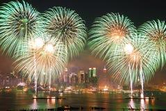 Fuochi d'artificio di New York City Immagine Stock Libera da Diritti