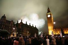 Fuochi d'artificio di notte di San Silvestro Fotografia Stock Libera da Diritti