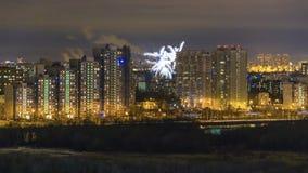 Fuochi d'artificio di notte a Mosca Fotografie Stock Libere da Diritti