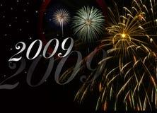 Fuochi d'artificio di nuovo anno 2009 Fotografia Stock