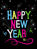 Fuochi d'artificio di nuovo anno felice Immagine Stock