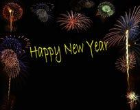 Fuochi d'artificio di nuovo anno felice Immagini Stock