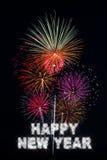 Fuochi d'artificio di nuovo anno felice Fotografia Stock Libera da Diritti