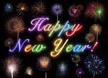 Fuochi d'artificio di nuovo anno felice Fotografia Stock