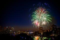 Fuochi d'artificio di NYE Immagine Stock Libera da Diritti