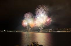 Fuochi d'artificio di parata in Gelendgik, Russia Immagini Stock