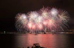 Fuochi d'artificio di parata in Gelendgik, Russia Fotografia Stock Libera da Diritti