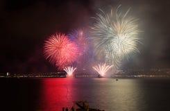 Fuochi d'artificio di parata in Gelendgik, Russia Fotografie Stock