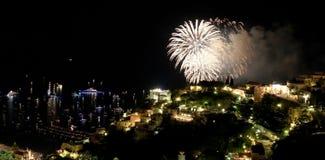 Fuochi d'artificio di Positano Fotografie Stock
