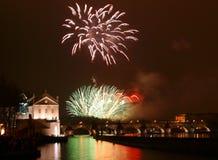 Fuochi d'artificio di Praga di nuovo anno Fotografia Stock Libera da Diritti