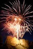 Fuochi d'artificio di Rushmore Fotografie Stock