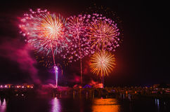 Fuochi d'artificio di San Juan a Badajoz Fotografia Stock