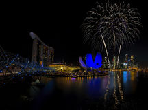 Fuochi d'artificio di Singapore Fotografie Stock