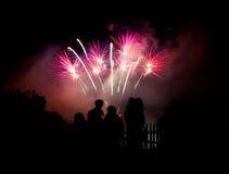 Fuochi d'artificio di sorveglianza della famiglia Fotografia Stock Libera da Diritti