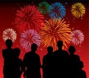 Fuochi d'artificio di sorveglianza della gente Fotografia Stock