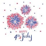 Fuochi d'artificio disegnati a mano di vettore per il quarto luglio Scheda americana di festa dell'indipendenza Immagine Stock Libera da Diritti