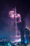 Fuochi d'artificio Dubai del centro Immagine Stock Libera da Diritti