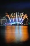 Fuochi d'artificio durante il Closing 2010 dei Giochi Olimpici della gioventù Fotografie Stock