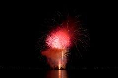 Fuochi d'artificio durante la celebrazione di luce, Vancouver Immagine Stock