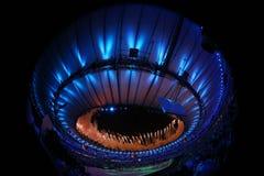 Fuochi d'artificio durante la cerimonia di apertura di Olympics di Rio 2016 Fotografia Stock