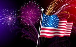 Fuochi d'artificio e bandiera americana. Vettore. Fotografia Stock Libera da Diritti