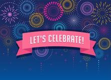 Fuochi d'artificio e fondo di celebrazione, vincitore, progettazione del manifesto di vittoria illustrazione di stock