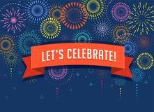 Fuochi d'artificio e fondo di celebrazione, vincitore, progettazione del manifesto di vittoria royalty illustrazione gratis