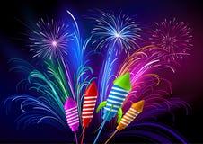 Fuochi d'artificio e razzi Fotografia Stock Libera da Diritti