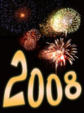 Fuochi d'artificio e testo 3 di nuovo anno Immagini Stock Libere da Diritti