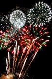 Fuochi d'artificio festivi e fuochi d'artificio che bruciacchiano i flash luminosi di cielo notturno nero Immagine Stock