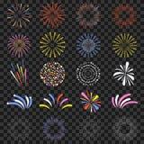 Fuochi d'artificio festivi isolati su fondo trasparente Brillantemente, petardi variopinti e monocromatici di celebrazione illustrazione di stock