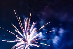 Fuochi d'artificio festivi luminosi contro lo sfondo del cielo notturno fotografia stock libera da diritti