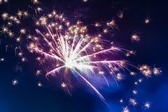 Fuochi d'artificio festivi luminosi contro lo sfondo del cielo notturno immagini stock