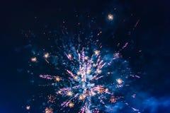 Fuochi d'artificio festivi luminosi contro lo sfondo del cielo notturno fotografie stock
