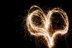 Fuochi d'artificio a forma di del cuore Immagine Stock Libera da Diritti