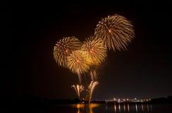 Fuochi d'artificio gialli Fotografie Stock Libere da Diritti