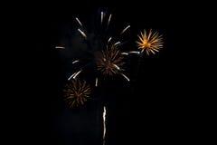 Fuochi d'artificio gialli Fotografia Stock