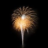 Fuochi d'artificio gialli nel cielo nero Fotografie Stock