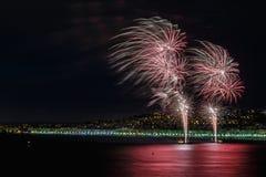 Fuochi d'artificio giorno celebrazioni sul 14 luglio in Nizza Immagini Stock Libere da Diritti