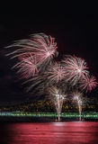 Fuochi d'artificio giorno celebrazioni sul 14 luglio in Nizza Immagine Stock