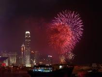 Fuochi d'artificio a Hong Kong Cina il giorno nazionale Fotografia Stock Libera da Diritti