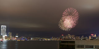 Fuochi d'artificio a Hong Kong per il nuovo anno cinese (2012) Fotografie Stock