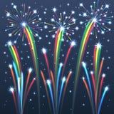Fuochi d'artificio illuminati variopinti. Fotografia Stock Libera da Diritti