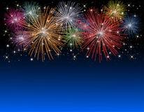 Fuochi d'artificio la vigilia di nuovi anni Fotografia Stock Libera da Diritti