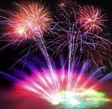Fuochi d'artificio, laser e fumo fotografia stock