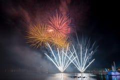 Fuochi d'artificio luminosi e variopinti contro un cielo notturno nero Immagini Stock Libere da Diritti