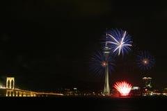 Fuochi d'artificio a Macao Fotografie Stock Libere da Diritti